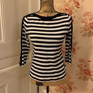 Chaps Black and White Striped Blouse